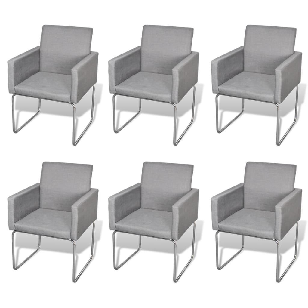 Silla de comedor con apoyabrazos 6 unidades grises claros for Sillas de comedor con apoyabrazos