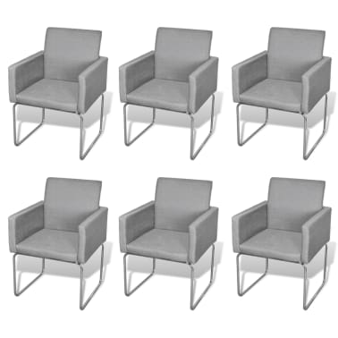 acheter lot de 6 chaises avec accoudoirs gris clair pas cher. Black Bedroom Furniture Sets. Home Design Ideas