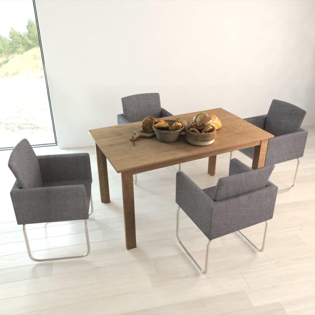 Vidaxl 4x sedie da pranzo in stoffa grigio scuro con for Poltroncine sala da pranzo