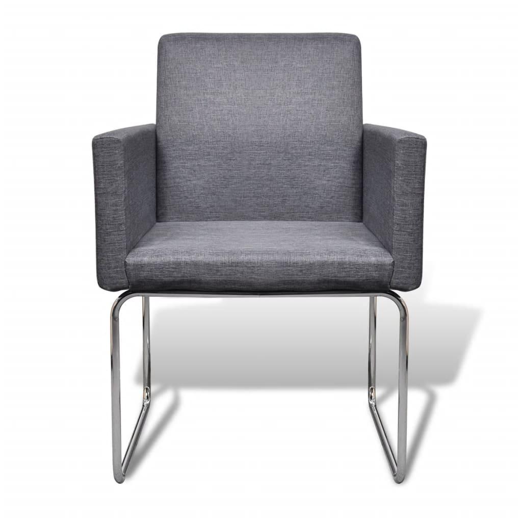 Vidaxl 6x sedie da pranzo in stoffa grigio scuro con for Poltroncine per sala da pranzo