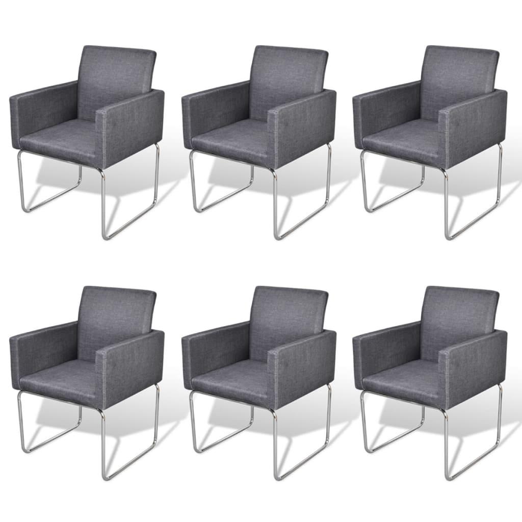 esszimmer stuhl mit armlehnen dunkelgrau 6 st ck g nstig kaufen. Black Bedroom Furniture Sets. Home Design Ideas