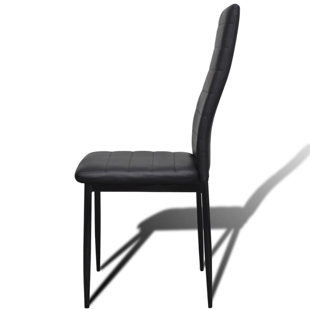Acheter Lot De 4 Chaises Noires Aux Lignes Fines Avec Une Table En Verre Pas Cher