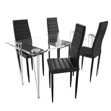 Eetkamerset 4 zwarte slim line stoelen en 1 glazen tafel - Glazen tafel gesmeed ijzer en stoelen ...