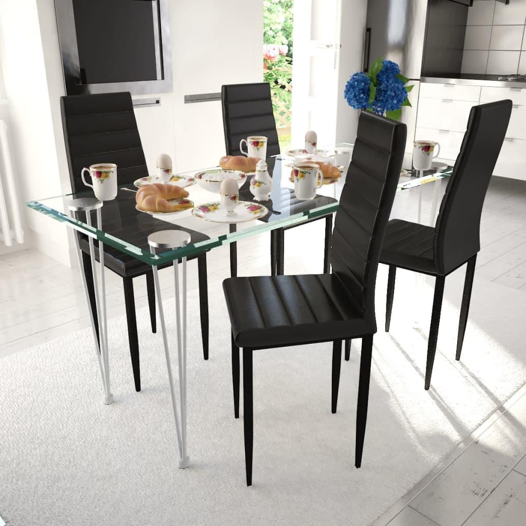 Matbord 4 st Slimmade Stolar Svart med 1 Glasbord (241497 + 241487)