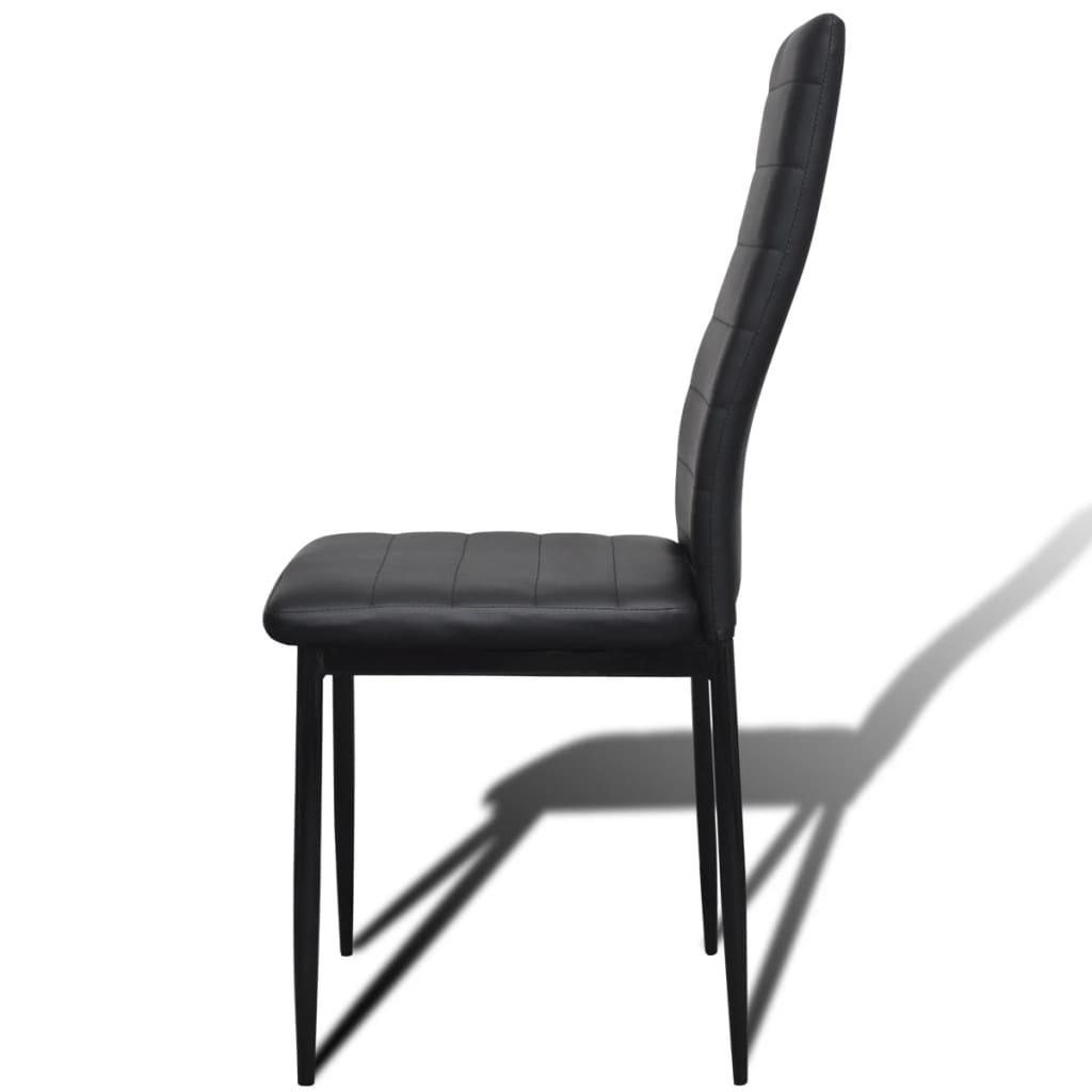 Acheter lot de 6 chaises noires aux lignes fines avec une for Table avec 6 chaises pas cher