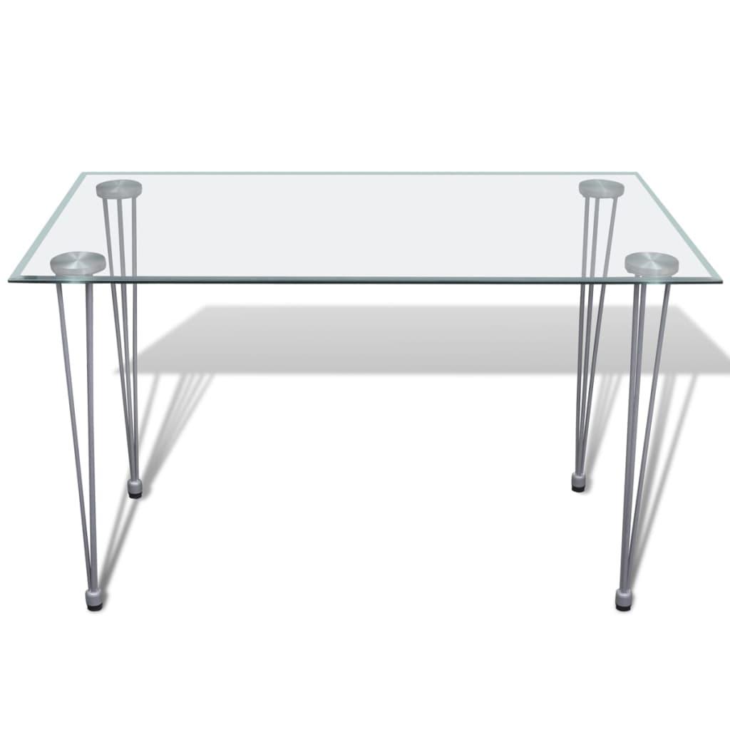 Eetkamerset 6 zwarte slim line stoelen en 1 glazen tafel - Glazen tafel gesmeed ijzer en stoelen ...