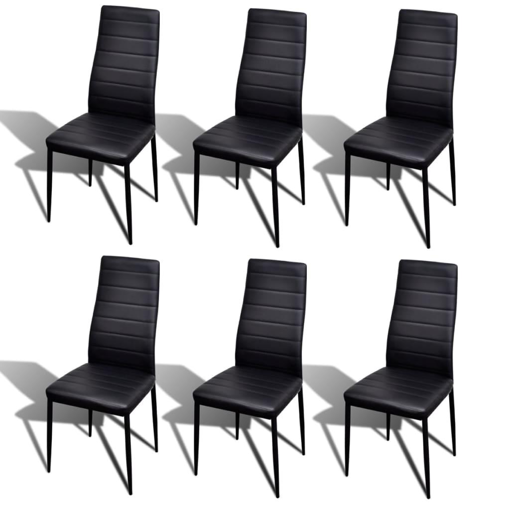Articoli per set 6 sedie da tavola nere linea sottile con for Sedie da tavolo