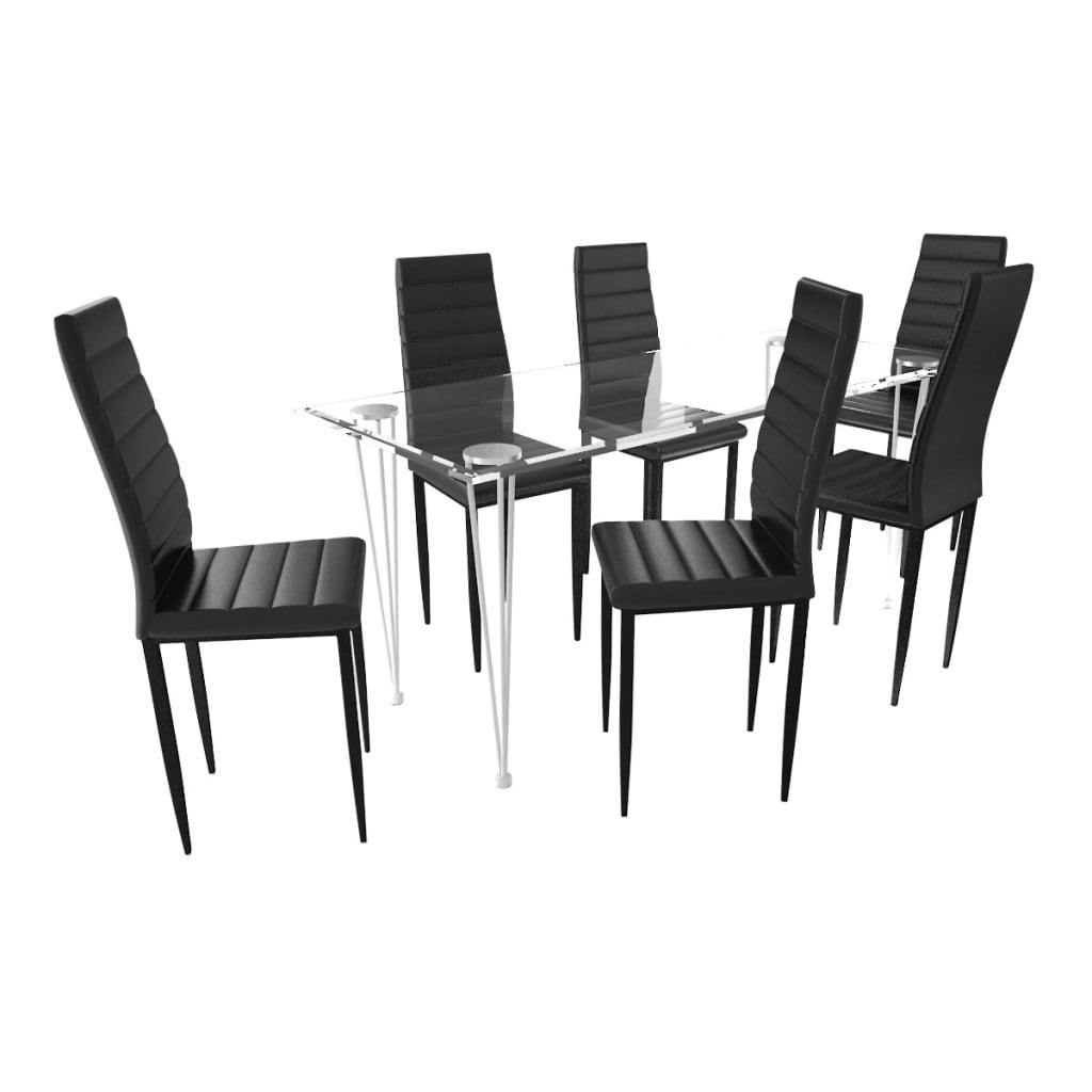 vidaXL Eetkamerset 6 zwarte slim line stoelen en 1 glazen tafel