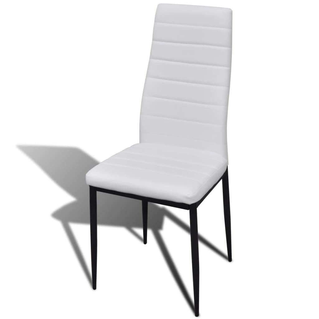 Eetkamerset 4 witte slim line stoelen en 1 glazen tafel - Tafel en witte stoelen ...