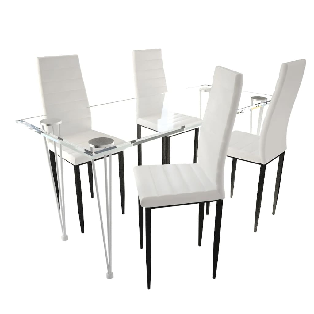 vidaXL Eetkamerset 4 witte slim line stoelen en 1 glazen tafel