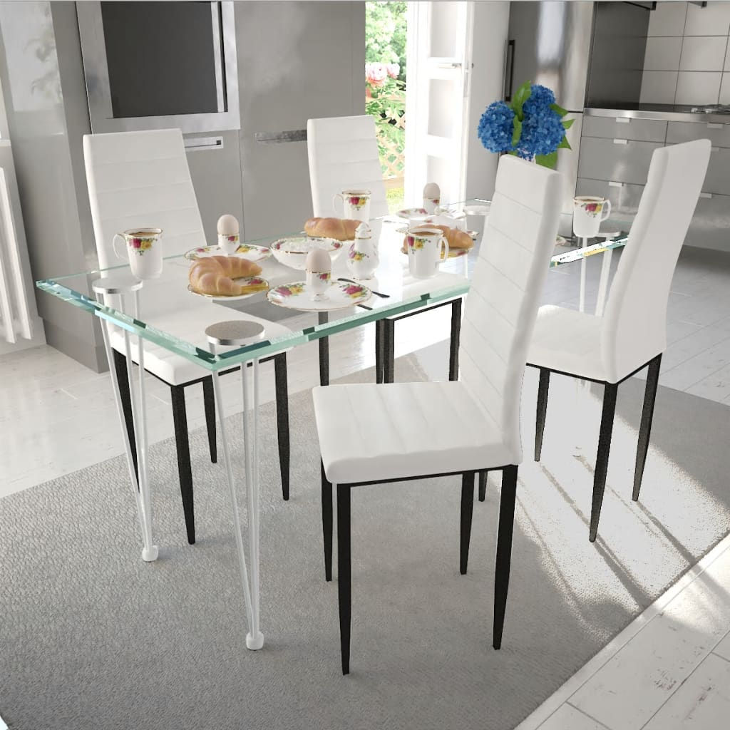 Eetkamerset 4 witte slim line stoelen en 1 glazen tafel - Stoelen voor glazen tafel ...