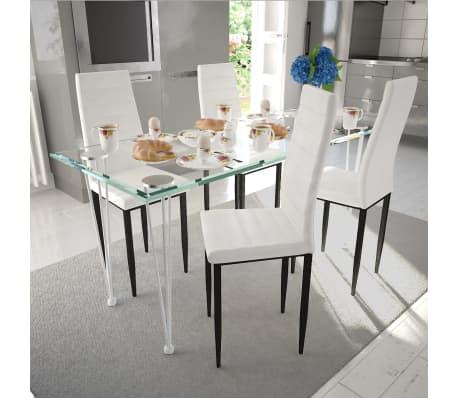Eetkamerset 4 witte slim line stoelen en 1 glazen tafel - Glazen tafel gesmeed ijzer en stoelen ...