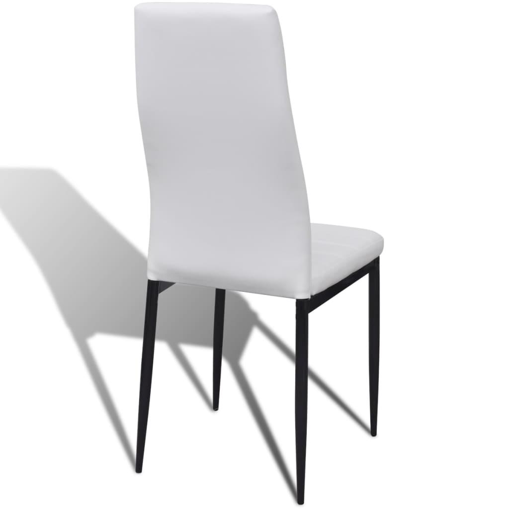 Eetkamerset 6 witte slim line stoelen en 1 glazen tafel - Tafel en witte stoelen ...