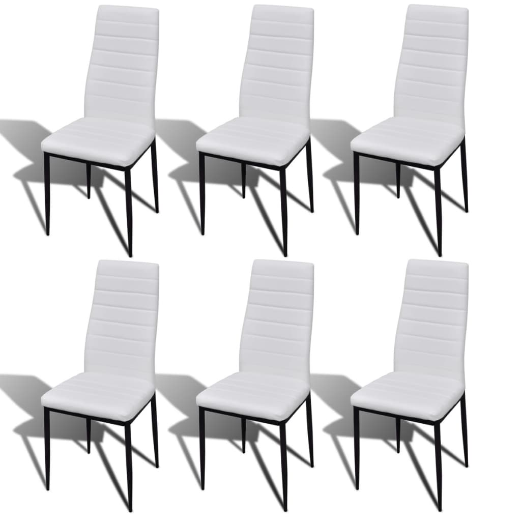 6 sillas blancas comedor slim line mesa de vidrio for Sillas blancas para comedor