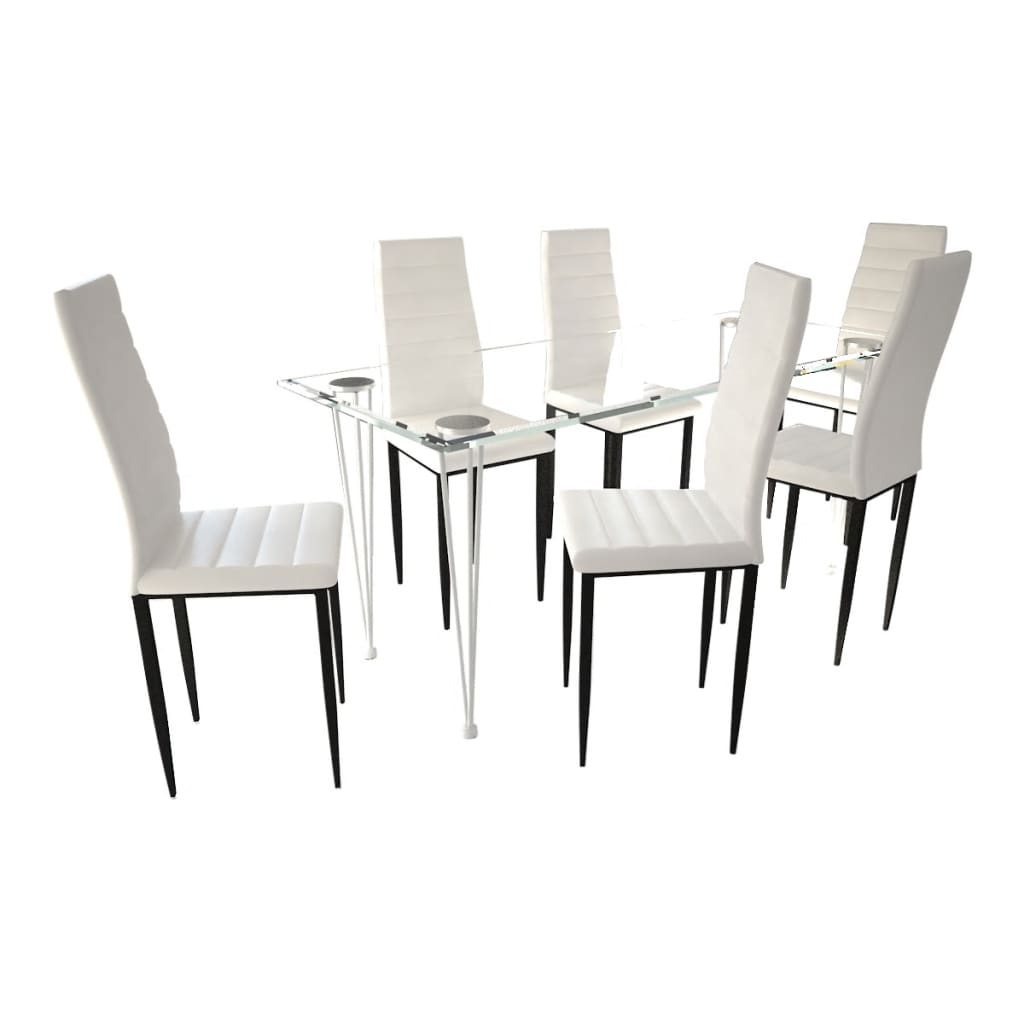 la boutique en ligne lot de 6 chaises blanches aux lignes fines avec une table en verre. Black Bedroom Furniture Sets. Home Design Ideas