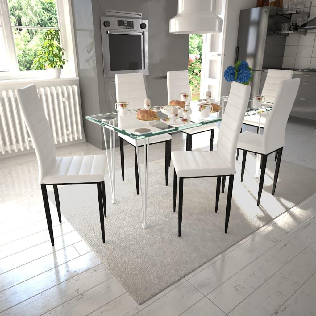Matbord 6 st Slimmade Stolar Vit med 1 Glasbord (271478 + 241487)