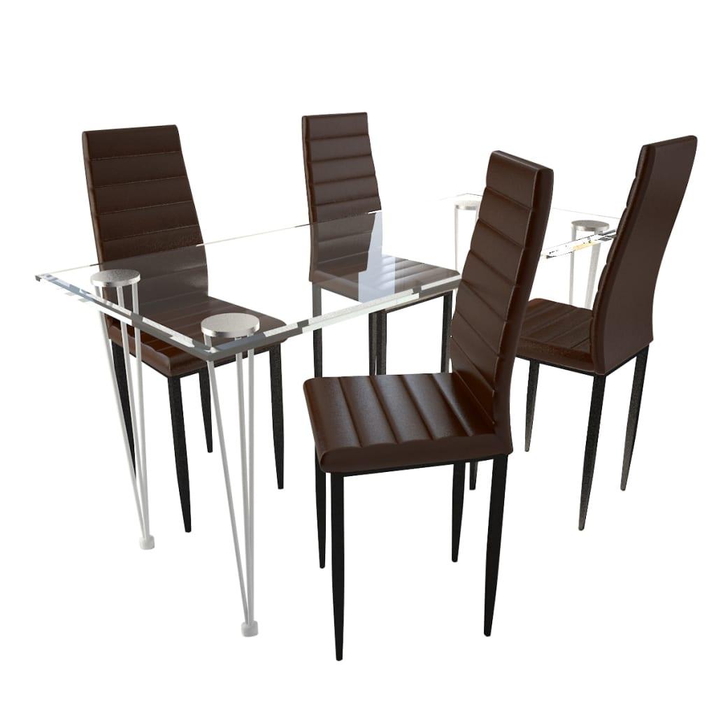 vidaXL Eetkamerset 4 bruine slim line stoelen en 1 glazen tafel