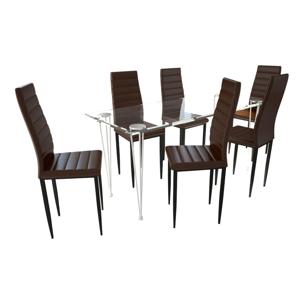 vidaXL Eetkamerset 6 bruine slim line stoelen en 1 glazen tafel