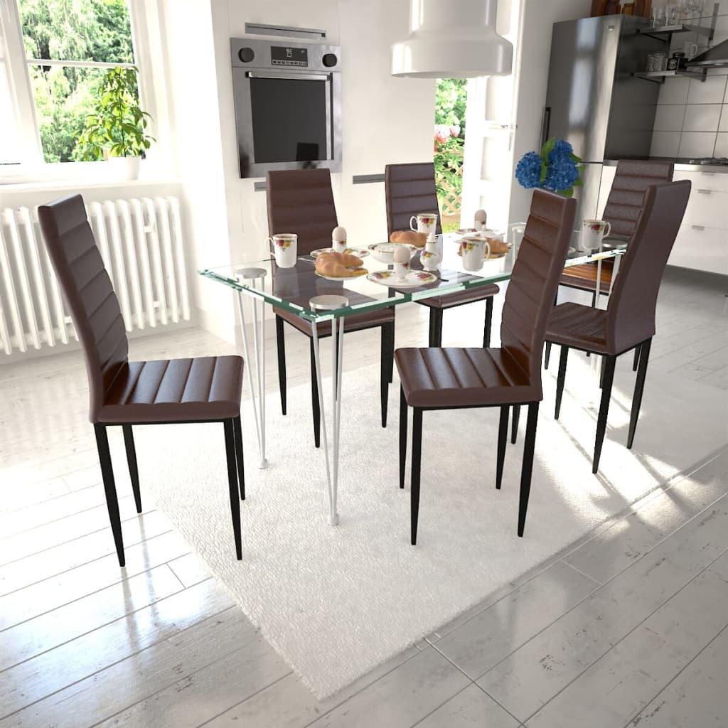 Matbord 6 st Slimmade Stolar Brun med 1 Glasbord (271477 + 241487)