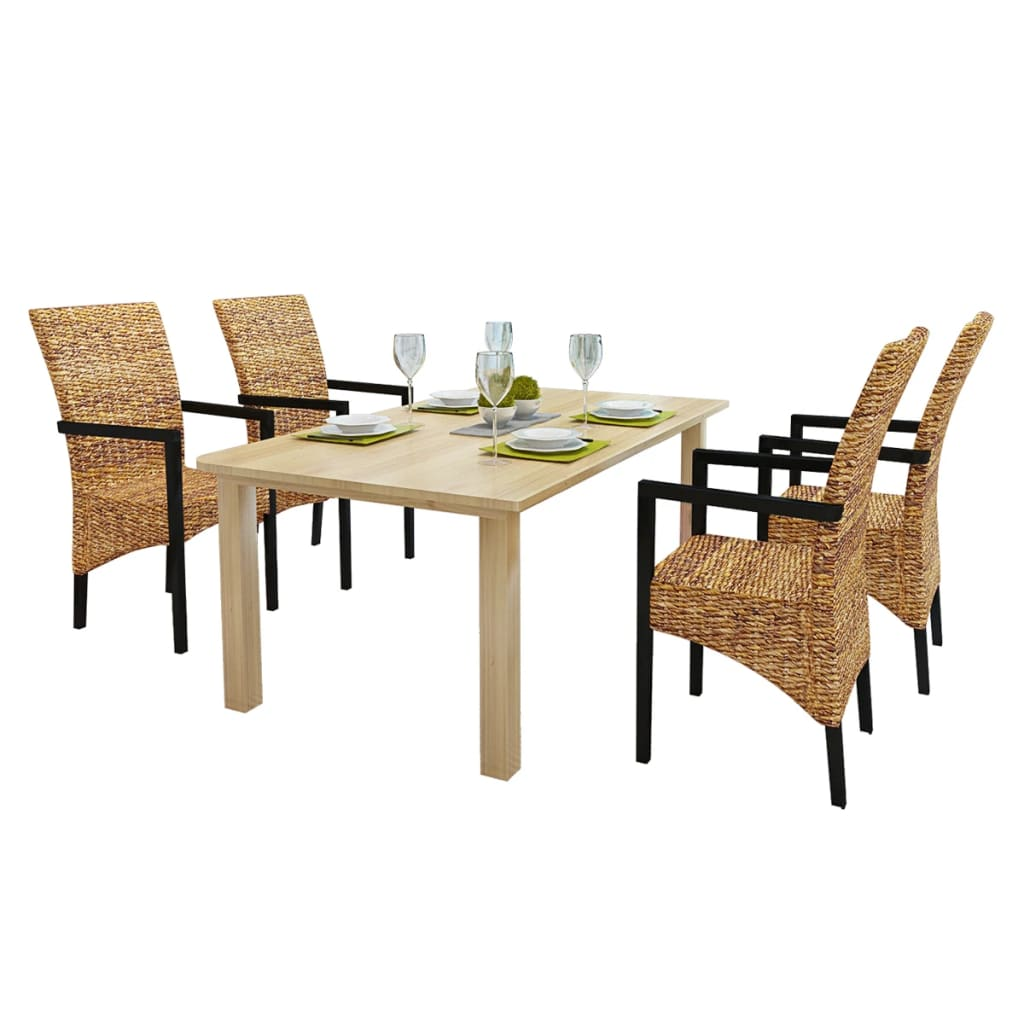 VidaXL.co.uk 4 Pcs Handwoven Abaca Dining Chair Set With Armrest. Full resolution‎  snapshot, nominally Width 1024 Height 1024 pixels, snapshot with #969A31.