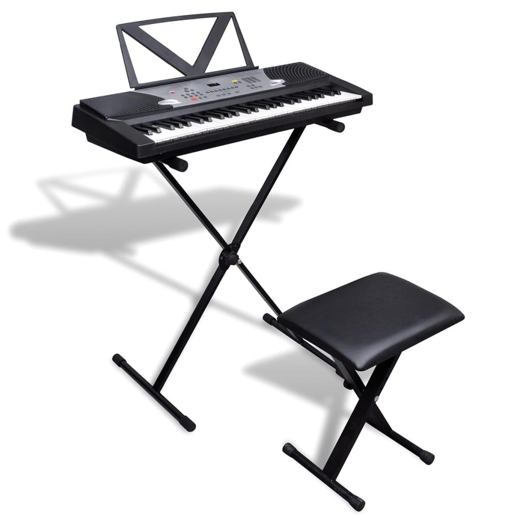 vidaXL 54-billentyűs szintetizátor állítható állvánnyal és zongoraszékkel