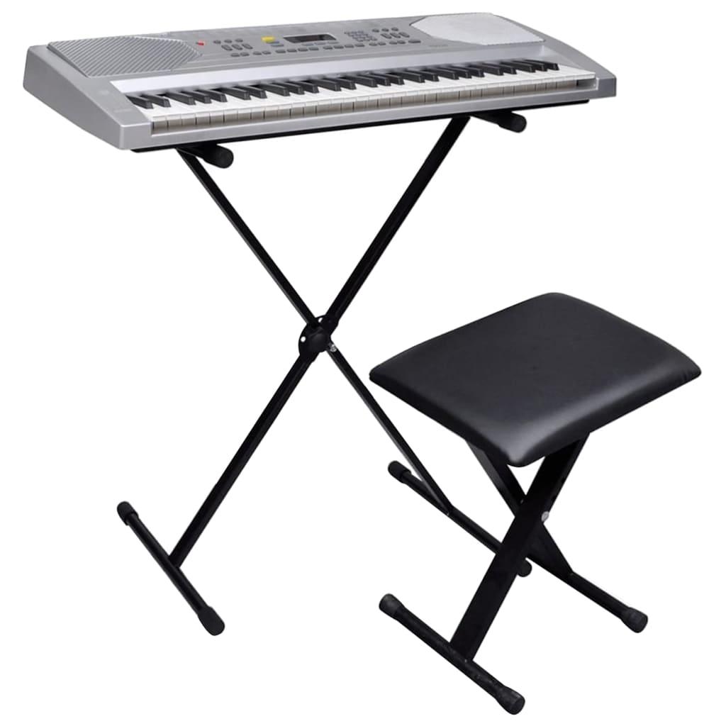 Afbeelding van vidaXL Keyboard met 61 toetsen + verstelbare standaard en een stoel