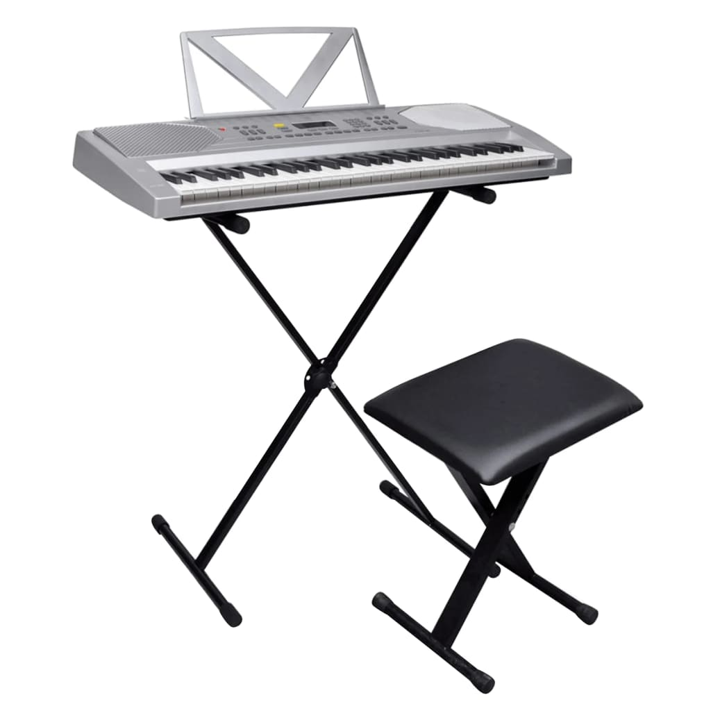 vidaXL 61-billentyűs szintetizátor állítható állvánnyal és zongoraszékkel