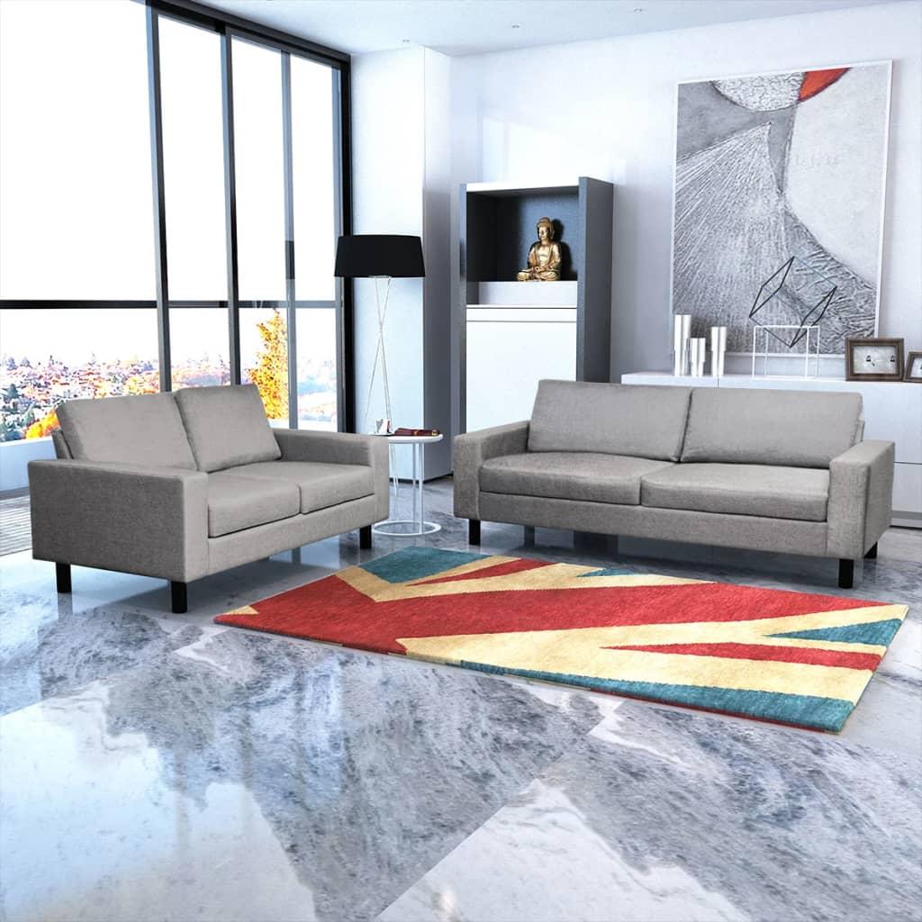 vidaXL 2 és 3 férőhelyes kanapé világos szürke