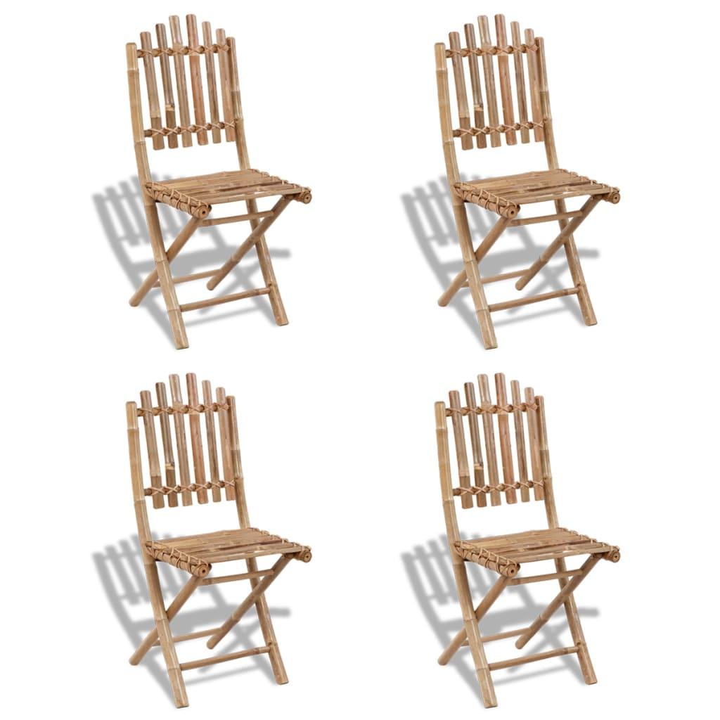 vidaXL 4 db összecsukható bambusz szék