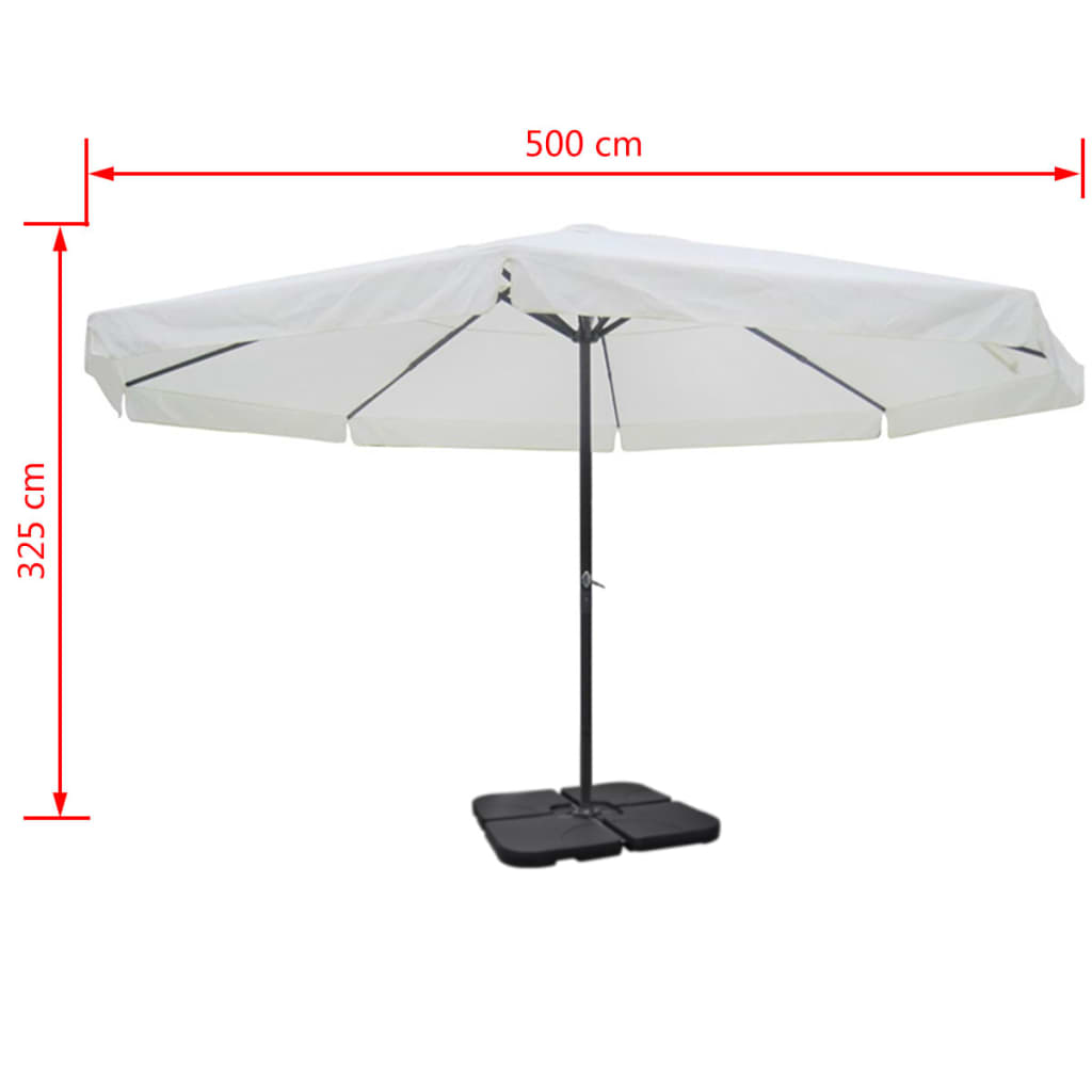 acheter parasol blanc en aluminium avec base mobile pas cher. Black Bedroom Furniture Sets. Home Design Ideas