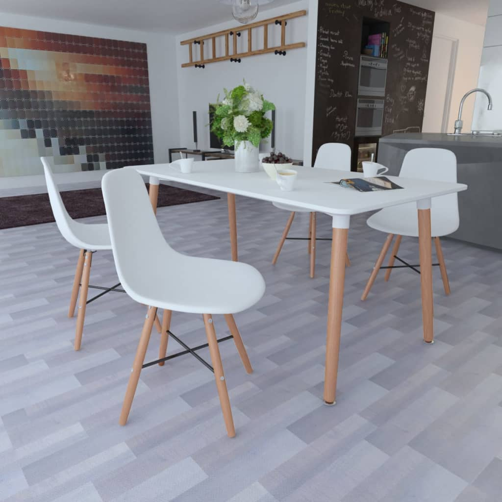 MDF Matte White Kitchen Dining Tables with 2/4/6 Armless Chair ...