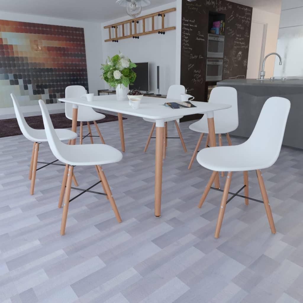 Vita matsalsmöbler med rektangulärt bord och 6 stolar (241301+241017)