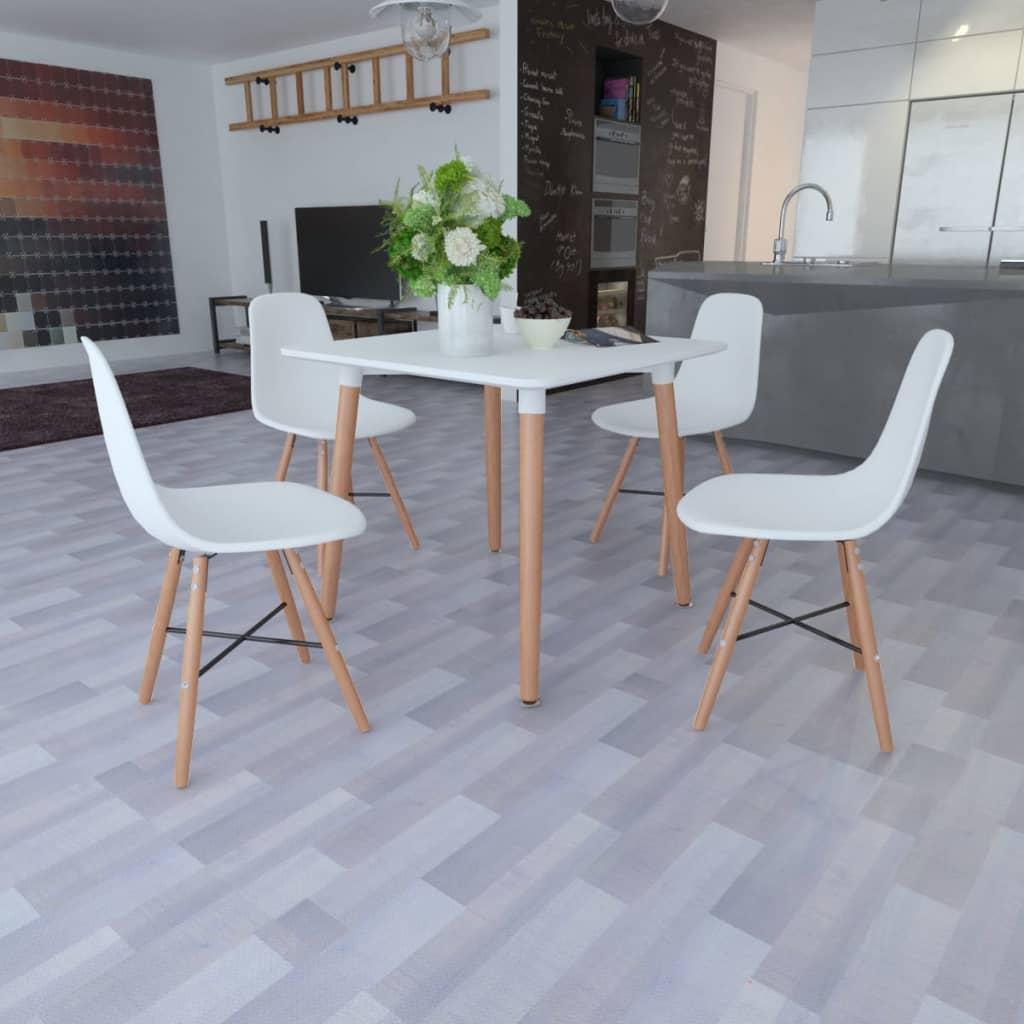 Vita matsalsmöbler med fyrkantigt bord och 4 stolar (241302+241017)