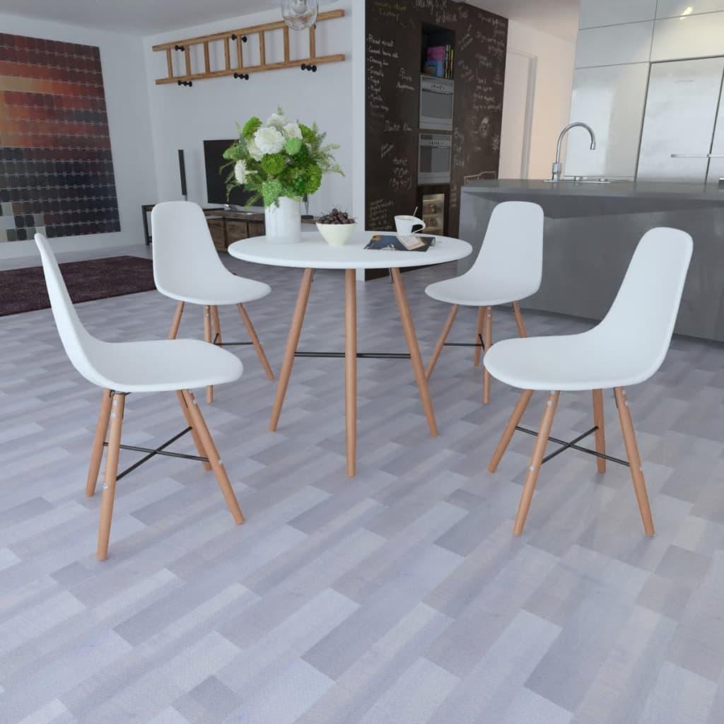 Vita matsalsmöbler 1 runt bord och 4 stolar
