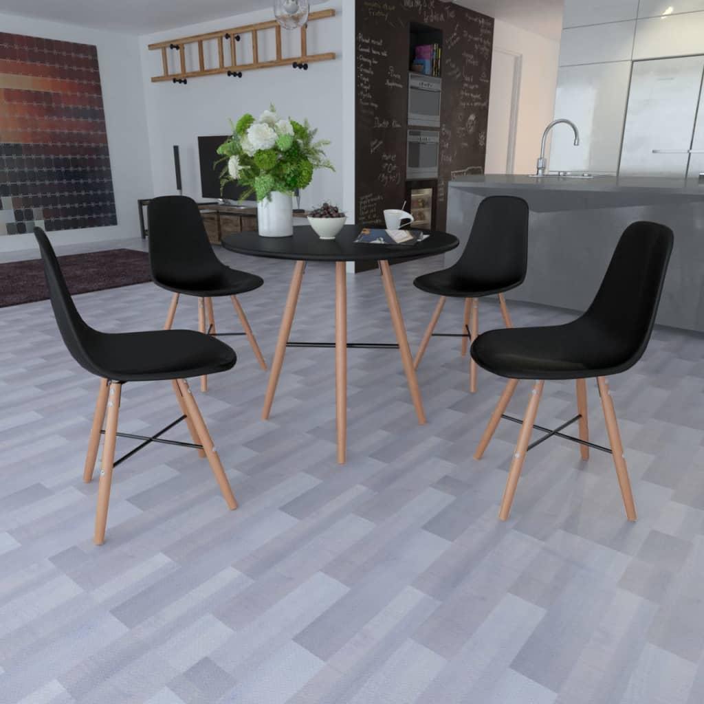 Svarta matsalsmöbler 1 runt bord och 4 stolar