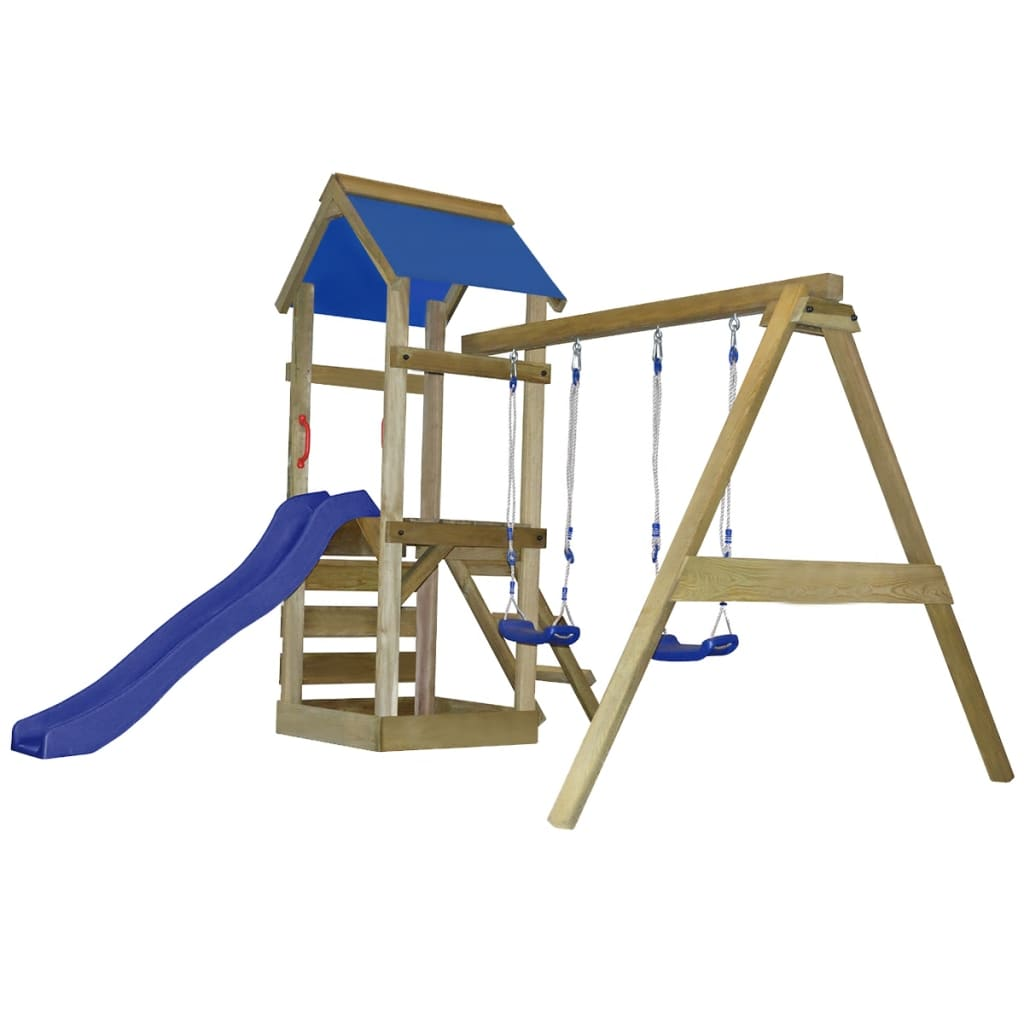 Wooden playground with ladder slide and for Portique exterieur bois