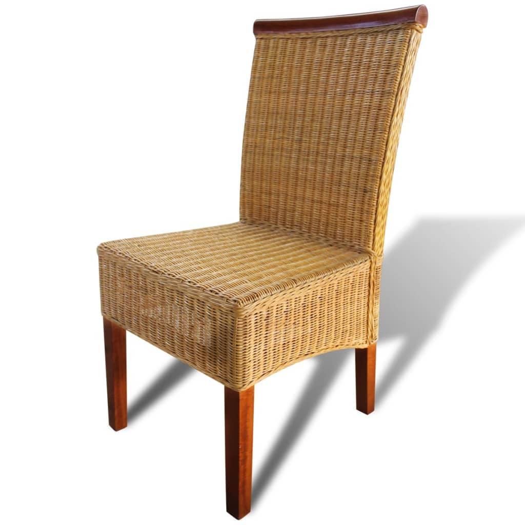 Acheter lot de 6 chaises tiss es main en rotin avec barre - Lot de 6 chaises en bois ...