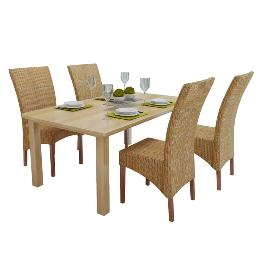 Set de 4 sillas de comedor rat n hecho a mano for Set sillas comedor