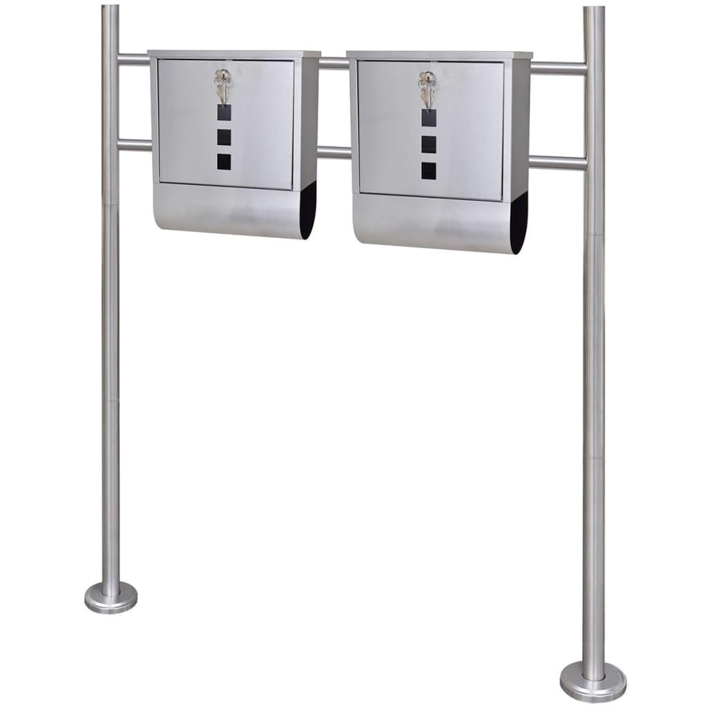 Två brevlådor på ett stativ i rostfritt stål