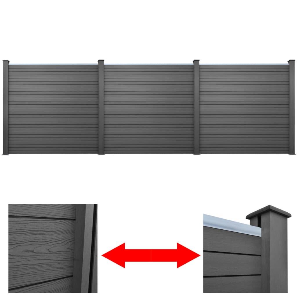 acheter panneau cl ture de jardin carr gris wpc 3 pcs pas. Black Bedroom Furniture Sets. Home Design Ideas