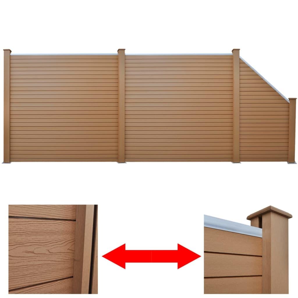 2 bruna kvadratiska WPC-paneler + 1 lutande WPC-panel 488 cm