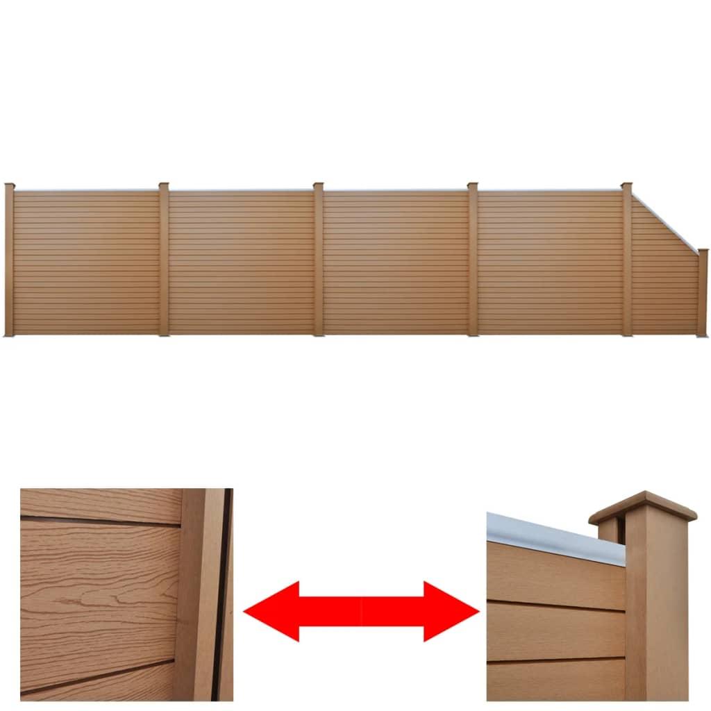 4 bruna kvadratiska WPC-paneler + 1 lutande WPC-panel 870 cm