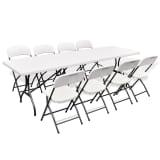 Ensemble table de jardin pliable avec 8 chaises PEHD blanc