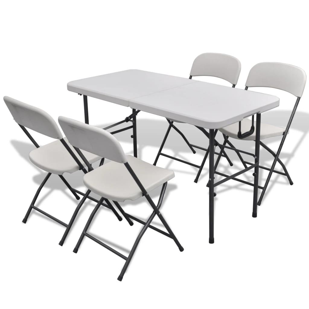 vidaXL Összecsukható kerti asztal szett 8 székkel 122 cm fehér