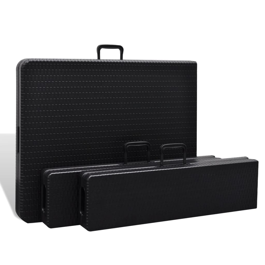 acheter vidaxl ensemble table de jardin pliable avec 2 bancs pehd faux rotin noir 180 cm pas. Black Bedroom Furniture Sets. Home Design Ideas