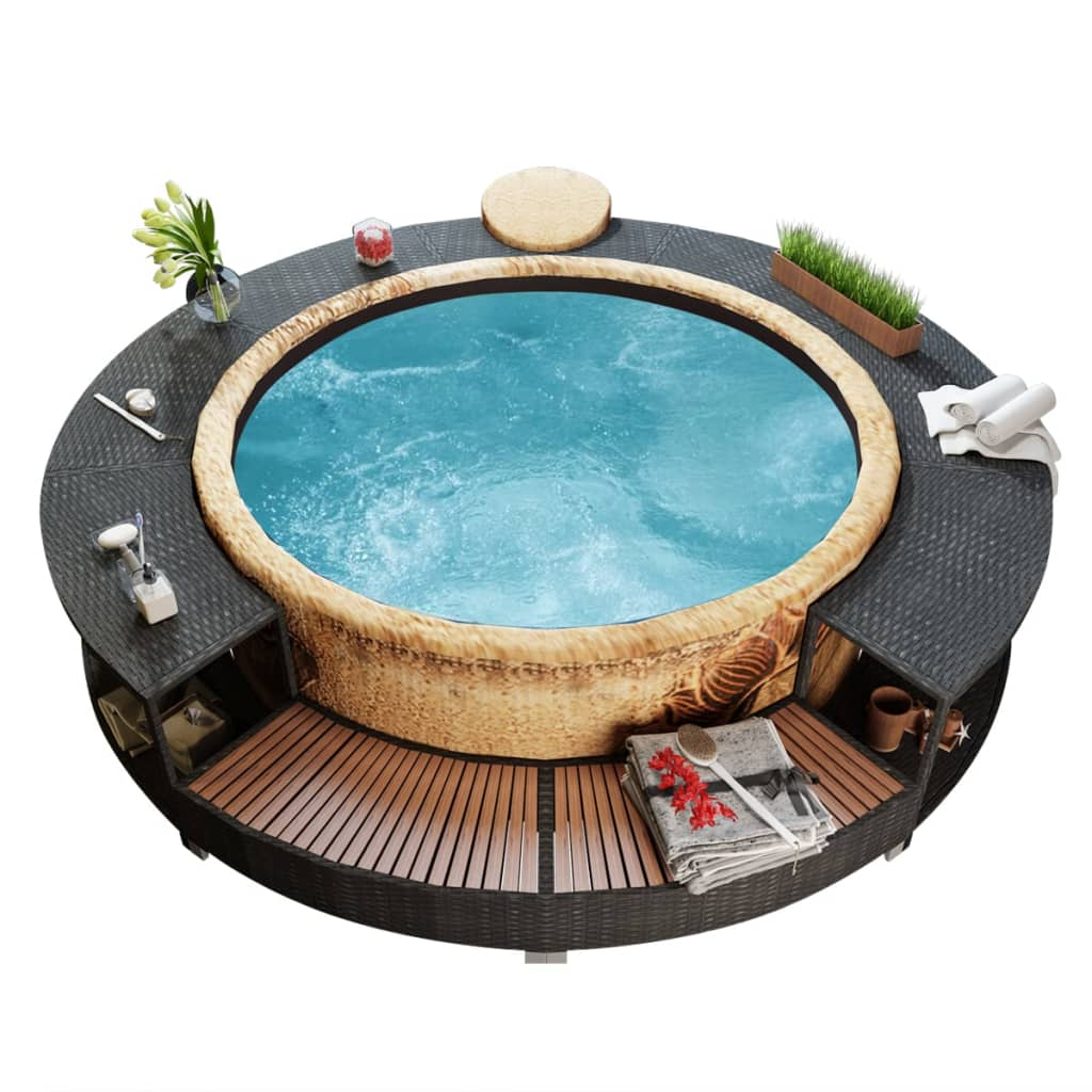 bestway lay z spa whirlpool mit poly rattan pool umrandung. Black Bedroom Furniture Sets. Home Design Ideas