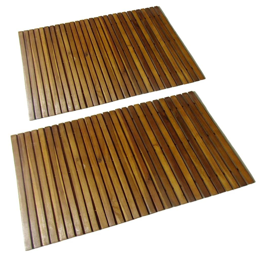 2 Akacia badrumsmattor 80 x 50 cm
