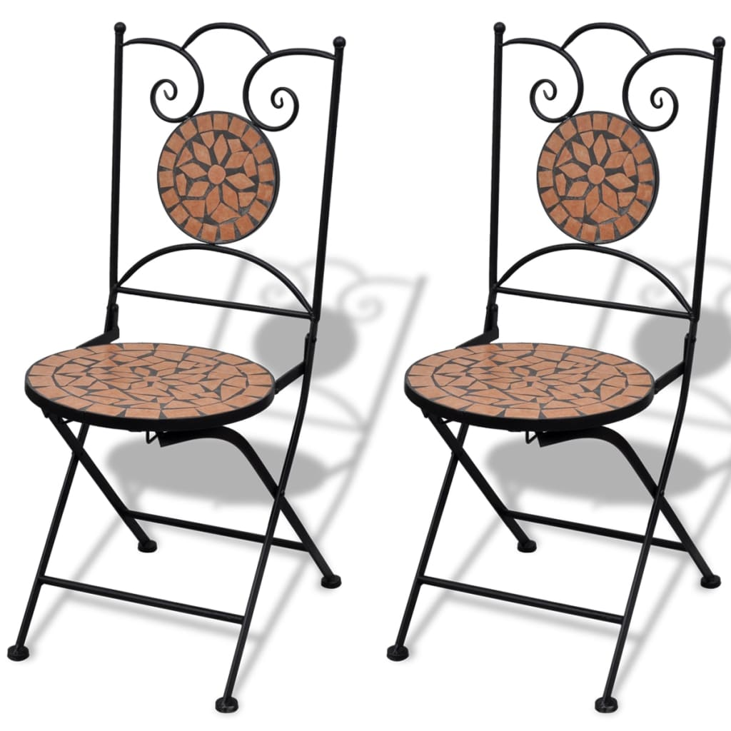 der mosaik bistrotisch 60 cm mit 2 st hlen terrakotta 41528 41529. Black Bedroom Furniture Sets. Home Design Ideas