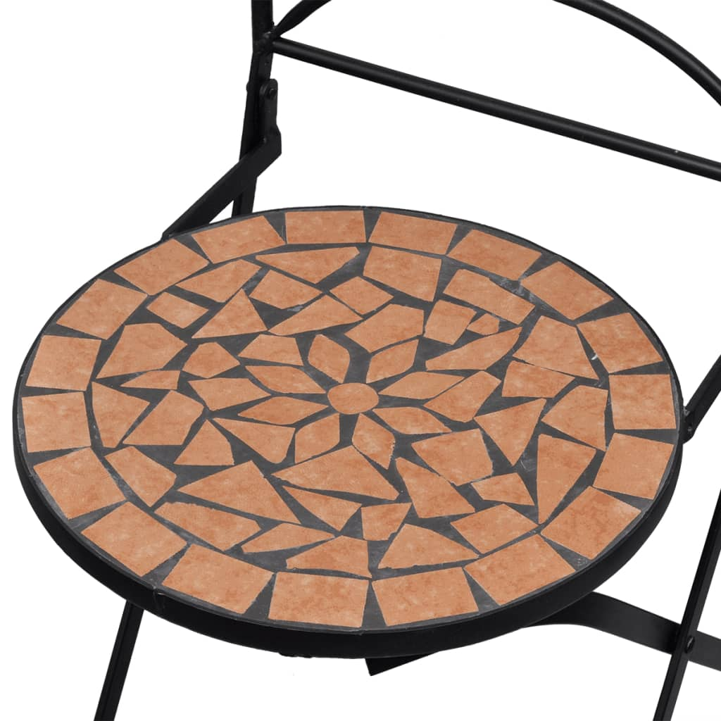 Vidaxl mosaic bistro table 60 cm with 2 chairs terracotta - Table largeur 60 cm ...