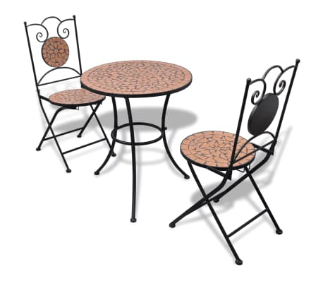 vidaxl mosaik bistrotisch 60 cm mit 2 st hlen terrakotta. Black Bedroom Furniture Sets. Home Design Ideas